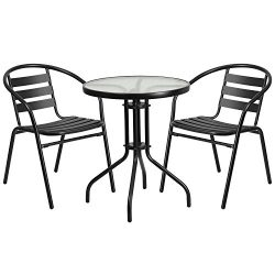 "Flash Furniture 23.75"" Round Glass Metal Table with 2 Black Metal Aluminum Slat Stack Chairs"
