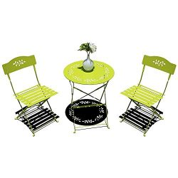 OC Orange-Casual 3-Piece Patio Bistro Set Steel Folding Dining Table and Chairs Garden Backyard  ...