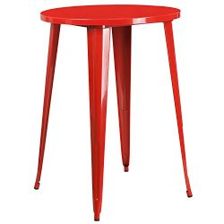 """Flash Furniture 30"""" Round Red Metal Indoor-Outdoor Bar Height Table"""