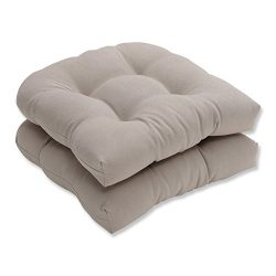 Pillow Perfect Indoor/Outdoor Beige Solid Wicker Seat Cushions, 2-Pack