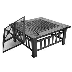 FCH 32″ Outdoor Square Fire Pit with BBQ Rack, Rain Cover, Spark Screen Top and Poker Meta ...