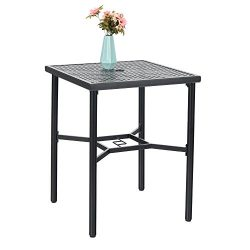 PHI VILLA 28in Patio Height Bistro Square Table with Umbrella Hole – 36″ Height