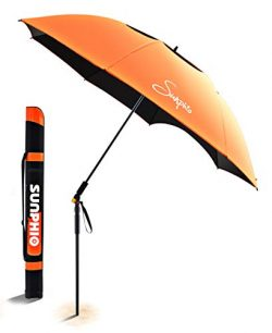 Sunphio Portable Beach Umbrella Heavy Duty with Tilt and Windproof Air Vent for Outdoor Travel,  ...
