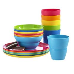 Ellie Kids Small Plastic Tumblers, Snack Bowls & Snack Plates | 18-piece set in 6 Assorted C ...