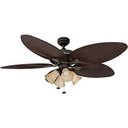 Honeywell Palm Island 52-Inch Tropical Ceiling Fan with 4 Sunset Shade Lights, Five Palm Leaf Bl ...