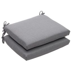 Pillow Perfect Indoor/Outdoor Textured Solid Square Seat Cushion, 18.5 in. L X 16 in. W X 3 in.  ...