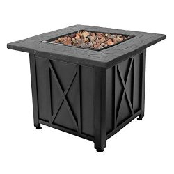 Endless Summer Blue Rhino Outdoor Propane White Lava Rock Patio Fire Pit, Black