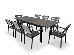 UrbanFurnishing.net – 9 Piece Eco-Wood Extendable Outdoor Patio Dining Set