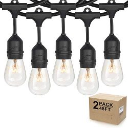 2-Pack Durable 48ft Outdoor String Lights for Patio, Dimmable Edison Vintage 11S14 Light Bulbs,  ...