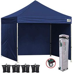 Eurmax 10×10 Ez Pop Up Canopy Outdoor Canopy Instant Tent with 4 zipper Sidewalls and Rolle ...