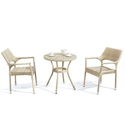 D+ Garden 3-Piece Bistro Table Set with All Weather Modern Resin Wicker, Aluminum Frame PE Ratta ...