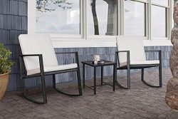 Flamaker 3 Pieces Patio Furniture Set Rocking Wicker Bistro Sets Modern Outdoor Furniture Sets C ...