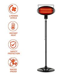 Electric Outdoor Heater, Vertical Halogen Patio Heater with Pull Line Switch, Indoor/Outdoor Hea ...