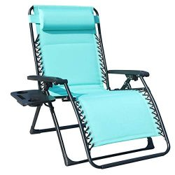 GOLDSUN Oversize XL Padded Zero Gravity Lounge Patio Chair Adjustable Reclining Lounger with Uti ...