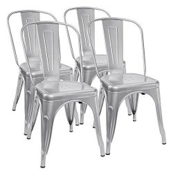 Furmax Metal Dining Chair Indoor-Outdoor Use Stackable Chic Dining Bistro Cafe Side Metal Chairs ...