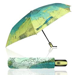 econoLED Compact World Map Travel Umbrella – Windproof, Reinforced Canopy, Ergonomic Handl ...