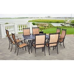 Hanover MANDN9PCSQ Manor 9-Piece Rust-Free Aluminum Outdoor Patio Dining Set with 8 Tan Sling-Ba ...