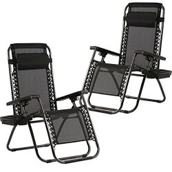 Zero Gravity Chairs Set of 2 with Pillow and Cup Holder Patio Outdoor Adjustable Dining Reclinin ...