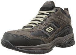 Skechers Men's Work Relaxed Fit Soft Stride Canopy Comp Toe Shoe, Brown/Black – 11 3E US