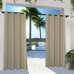 Exclusive Home Indoor/Outdoor Solid Cabana Grommet Top Curtain Panel Pair, Taupe, 54×108, 2 ...