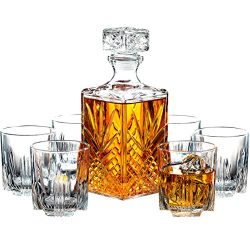 Paksh Novelty 7-Piece Italian Crafted Glass Decanter & Whisky Glasses Set, Elegant Whiskey D ...