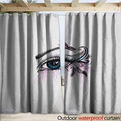 warmfamily Eyelash Drape for Pergola Hand Drawn Eye with Doodle Artful Makeup Pink Butterfly Fea ...
