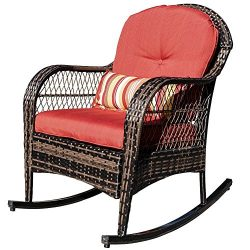 Sundale Outdoor Wicker Rocking Chair Rattan Outdoor Patio Yard Furniture All- Weather with Cushi ...