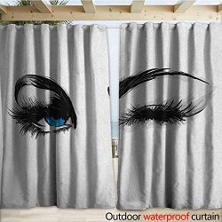 warmfamily Eye Drape for Pergola Flirty Attractive Woman with Blue Eyes and Thick Lashes Beauty  ...