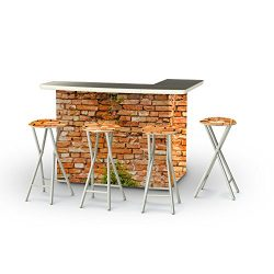 Best of Times Portable Patio Bar Table with Stools, Italian Villa