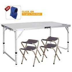 REDCAMP Outdoor Picnic Table Adjustable, Folding Camping Table with 4 Chairs, Aluminum White 47. ...