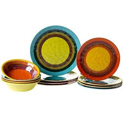 Certified International SED12PC Sedona Melamine 12 pc Dinnerware Set, Service for 4, Multicolored