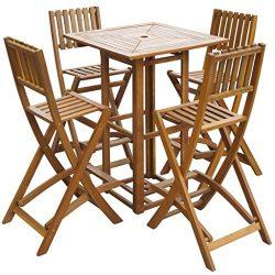 vidaXL Patio Bar Table and Chairs Set Acacia Wood Outdoor Cafe Restaurant Pub
