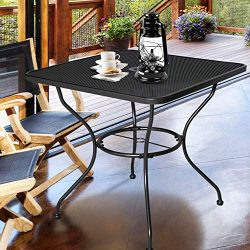 Homevibes 30″ Outdoor Patio Dining Table Top Bistro Table Top Umbrella Stand Square Deck F ...