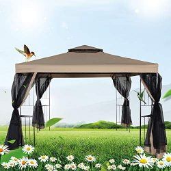 FurniTure Outdoor Gazebo 10′ x 10′ Gazebo Vented Garden Party Gazebo with Mosquito N ...