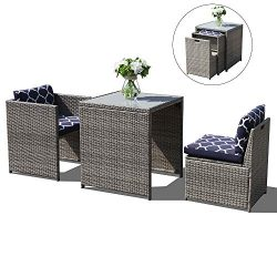 OC Orange-Casual 3 Piece Outdoor Patio Furniture Set Cushioned Rattan Wicker Conversation Dining ...