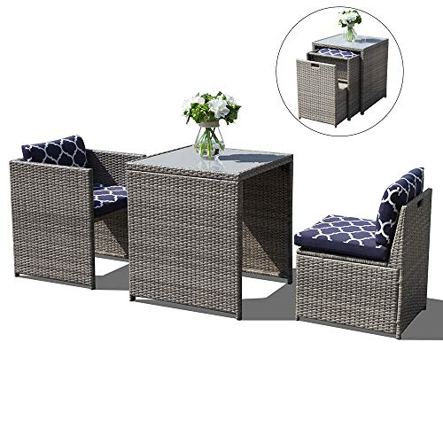 Oc Orange Casual 3 Piece Outdoor Patio Furniture Set Cushioned Rattan Wicker