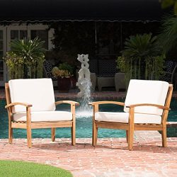 Preston Outdoor Wooden Club Chairs w/Beige Cushions (Set of 2)