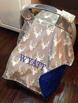 Car Seat Canopy Boy or Girl, Personalized Carseat Cover Deer, Woodland Baby Shower Gift, Color o ...
