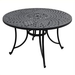 Crosley Furniture Sedona 48-inch Solid-Cast Aluminum Outdoor Dining Table – Black