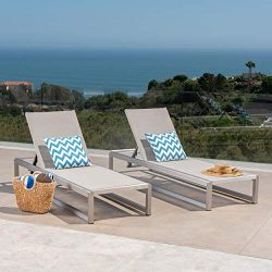 Great Deal Furniture San LuisOutdoor Grey Mesh Chaise Lounge with Silver Finished Aluminum Frame ...