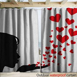 warmfamily Kiss Patio Gazebo Pergola Cabana Pretty Girl Black Silhouette Blowing Red Hearts Roma ...
