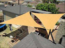 diig Outdoor Sun Shade Sail Canopy,2 PCS 12′ x 12′ x 12′ Triangle Shade Cloth ...