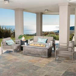 Crested Bay Aluminum Outdoor Patio Furniture 3 Piece Chat Set with Rectangular Liquid Propane Fi ...