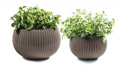 Keter Cozies Plastic Planters Set of 2, Knit Texture, Small & Medium Pots with Removable Lin ...