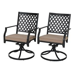 PHI VILLA Outdoor Patio Metal Swivel Dining Chair fits Garden Backyard Rocker Chairs Furniture & ...