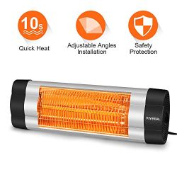 VIVREAL Patio Heater, 1500W Infrared Heater with 1-Sec Heat-Up, Indoor/Outdoor Wall Heater with  ...