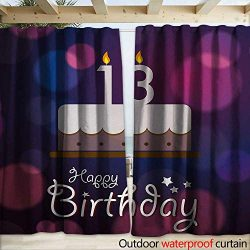 warmfamily 13th Birthday Drape for Pergola Curtain Hand Drawn Style Party Cake with Number Candl ...