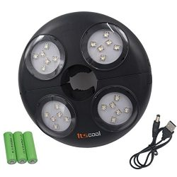 Umbrella Light, Itscool Umbrella LED Lights 24 LED Hight Brightness Rechargeable Battery 4500mAh ...