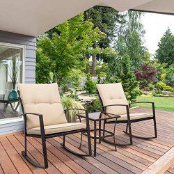 EcoMozz Outdoor 3-Piece Wicker Bistro Rocking Chair Set – All Weather Patio Furniture Beig ...