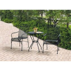 Wrought Iron 3 Piece Chairs & Table Patio Furniture Bistro Set, Black, Seats 2